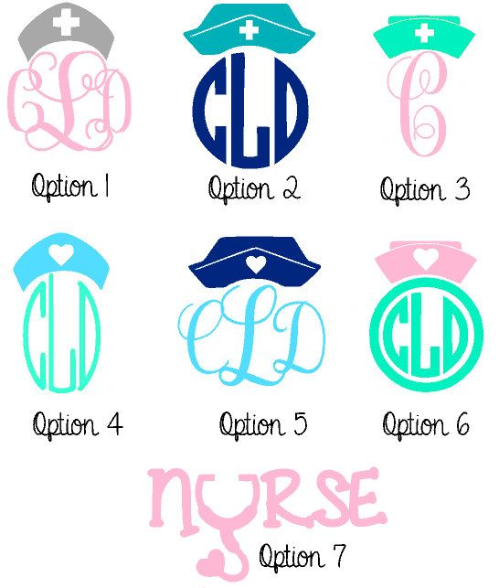 5 Nurse or Doctor Decal with Monogram by CypressLaneDesigns, $6.00