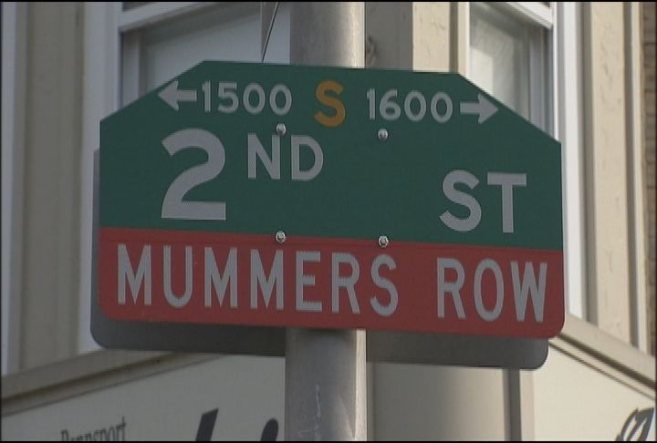 """2nd Street in South Philly, or """"Two Street"""" as Philadelphians call it, is home to many of the Philadelphia Mummers' clubhouses."""