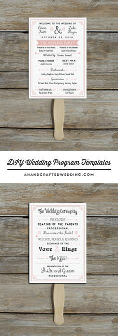 Download and customize this vintage-inspired DIY Wedding Program Template that you can double up as a fan   ahandcraftedwedding.com #printables