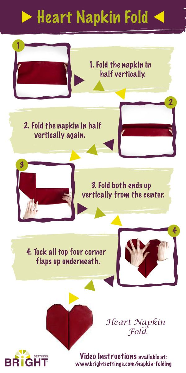 A step-by-step infographic explaining the heart napkin fold. Perfect for Valentine's Day, weddings, and other love-related events!