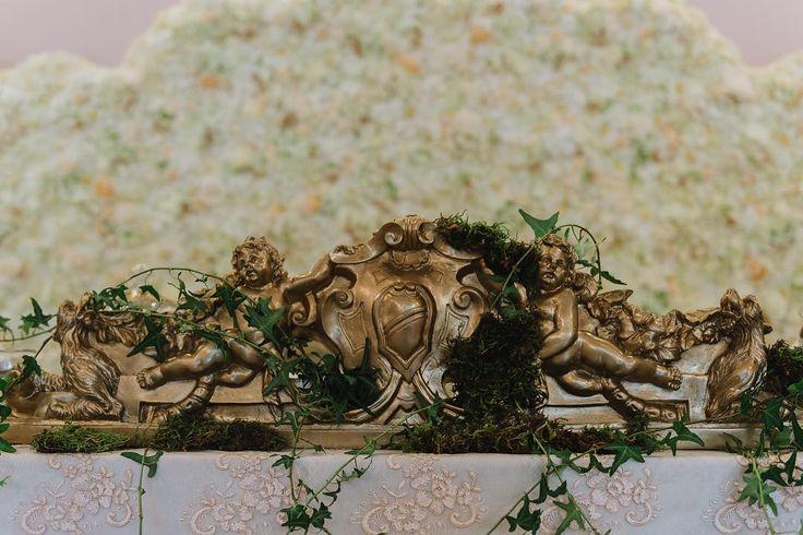 Royalty Wedding - Gold / Bronze Decor - Vintage , Antique, Royal, Elegant design - Flower Wall, Angel Sulpture by Satori Art & Event Design