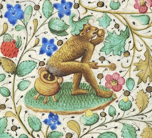 Rodinesque monkey on a pot (above Saints Peter and Paul 'Petrus apostolus et Paulus doctor gentium') Book of Hours, Paris ca.1460 | Morgan Library & Museum, NY: MS M.282, fol. 125v