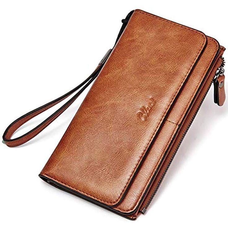 Damen PU Leder Geldbörse Lang Portemonnaie Geldbeutel Clutch-Tasche Brieftasche
