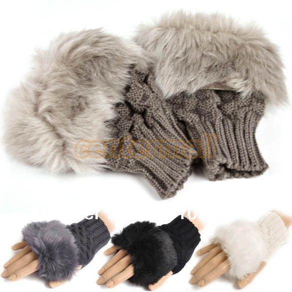 nueva moda de invierno las mujeres piel sintética de la mano más caliente de la muñeca de punto guantes sin dedos 8226