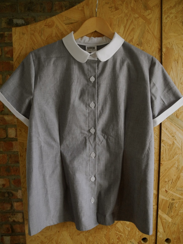 'Burrow' chambray and white cotton-poly blend ladies' collared shirt