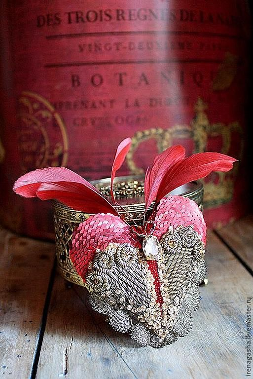 Heart ~ silver, feathers, red