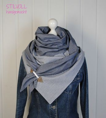 Toller großer dreieckiger Schal aus hochwertigem Baumwollstoff. Voluminöses, schönes …   – idée pour moi