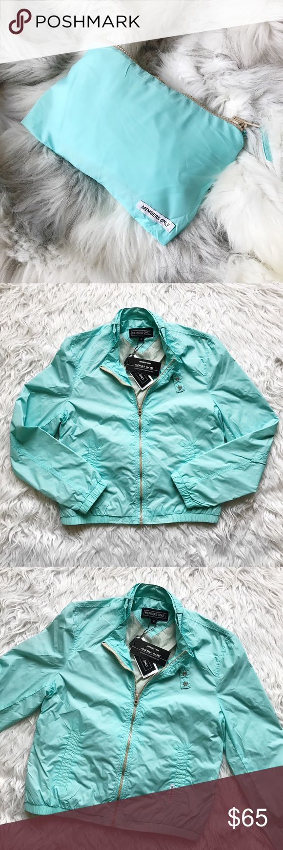 • Members Only • Packable Jacket NEW Stunning Tiffany blue nylon windbreaker jacket! Packs into a small pouch through pocket on the back. Urban Outfitters Jackets & Coats