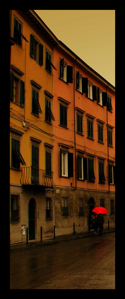 one red umbrella