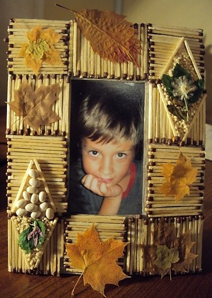 Фоторамка из спичек, зерен и сухих листьев. - Мастер-классы - Прикладное искусство