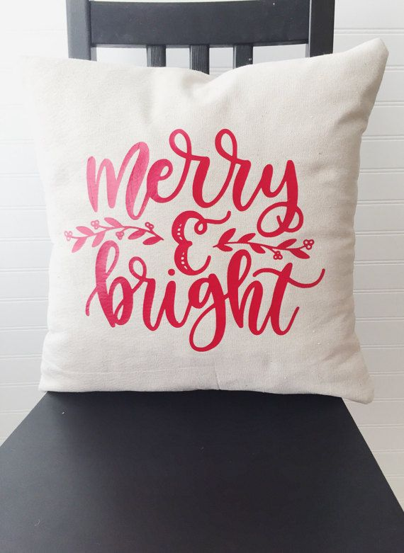 Christmas Pillow Cover Merry and Bright Pillow by JuJuBeeGoods