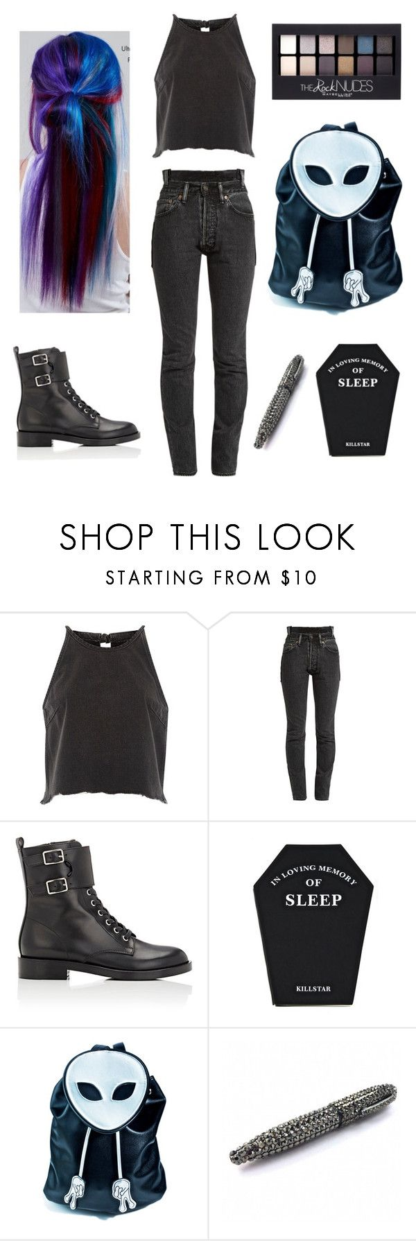 """Saturday Night"" by eternallyaaa ❤ liked on Polyvore featuring River Island, Vetements, Gianvito Rossi, Killstar, Current Mood, Maybelline and Manic Panic NYC"
