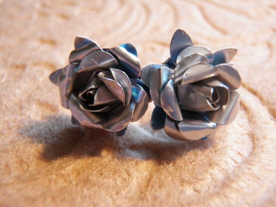 Upcycled Beer Can Rose Earrings by JnzAlteredArt on Etsy, $10.00