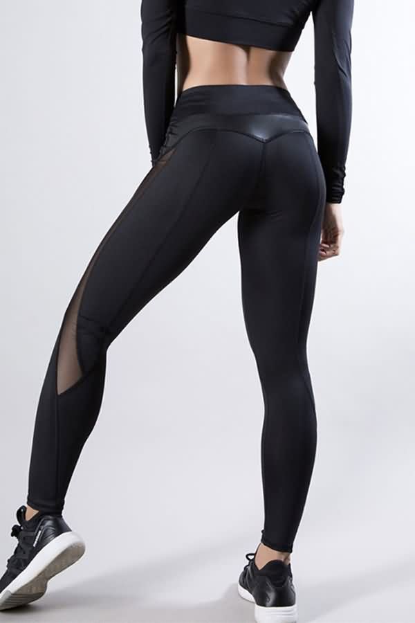 Quick-drying Mesh Spliced Yoga Pants Women Sports Fitness Running Leggings Women