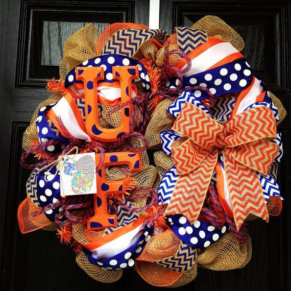 UF Florida Gators Burlap wreath // Blue // Orange // Chevron // Polka dot on Etsy, $85.00