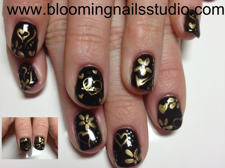 21 best bloomingnails nail art austin tx images on pinterest black and gold valentine nails inspired by robin moses prinsesfo Gallery