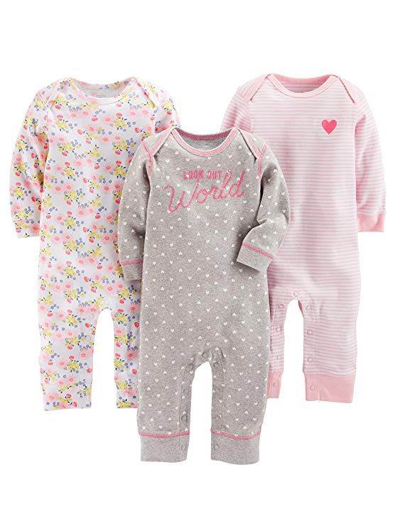 abb3a12a6b Amazon.com  Simple Joys by Carter s Baby Girls  3-Pack Jumpsuits  Clothing