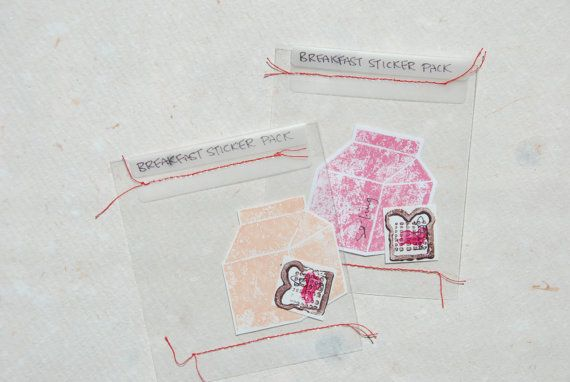 Tiny Hand-stamped Breakfast: Milk Carton and Toast Sticker Set (2pcs.)