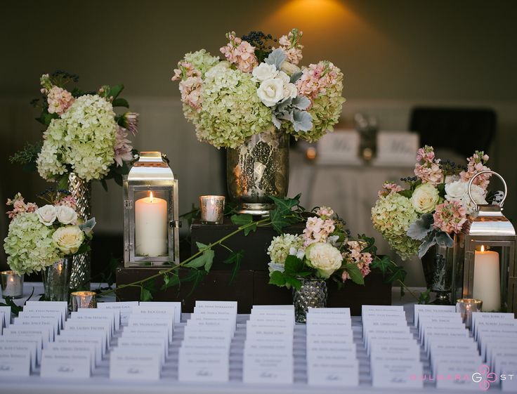 FOREVER IN BLOOM, MtKisco   Amy Champagne events  Flowers for escort card tables, and cocktail tables.