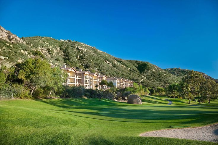 Spectacular views surround you at Welk Resorts San Diego. Above is the Mountain Villas overlooking the Fountains golf course.