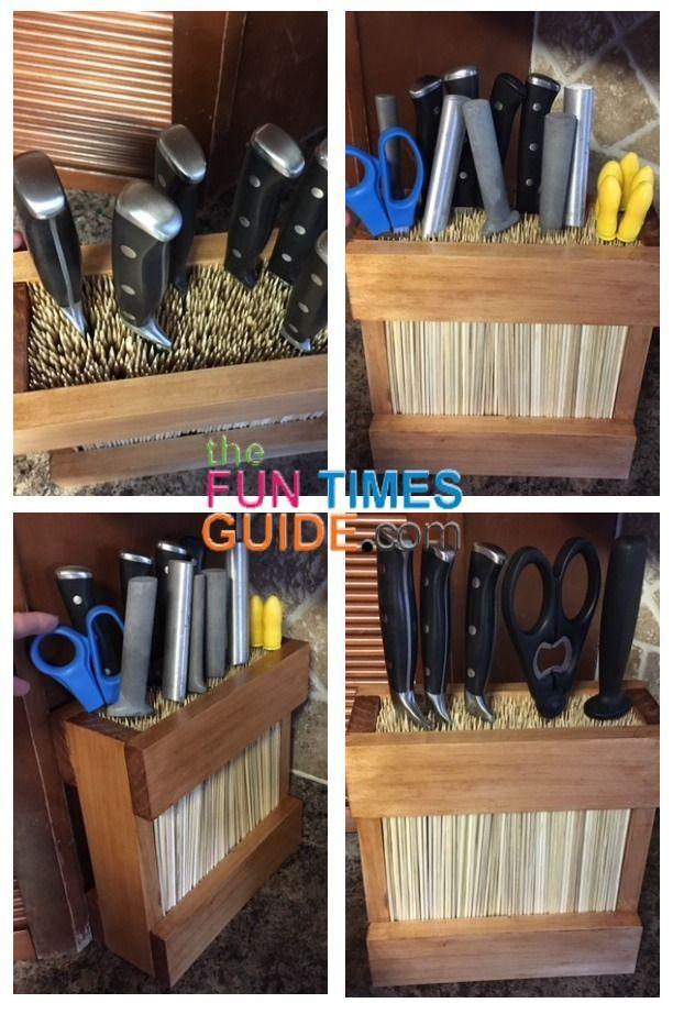 A Diy Universal Knife Block Kitchen Utensil Holder For Sharp