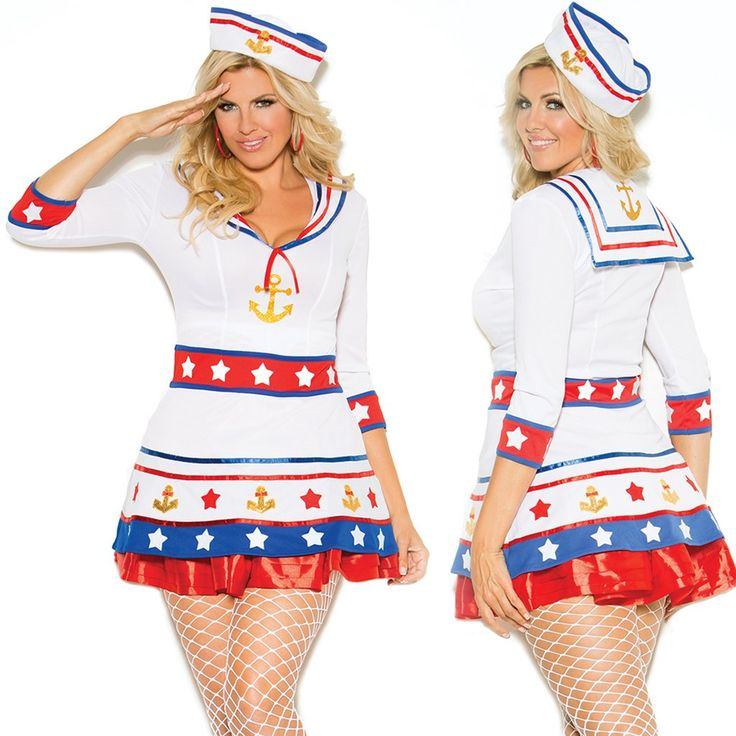 Sexy Plus Size Harbor Marine Sailor Hottie Halloween -7154