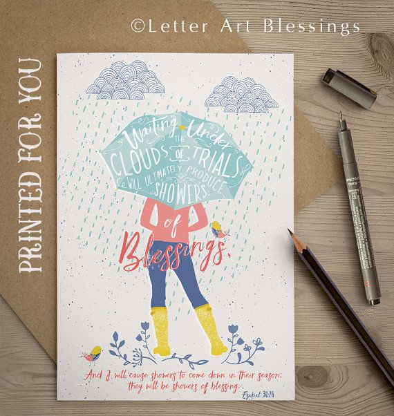 Christian Greeting Card Lettered Card Showers of Blessings