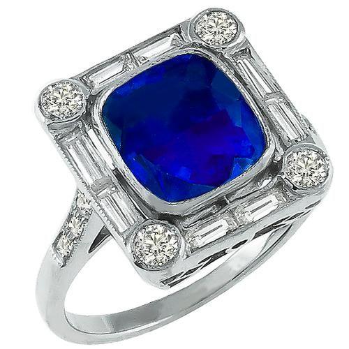 Antique Style 3.89ct Sapphire 0.90ct Diamond Gold Ring