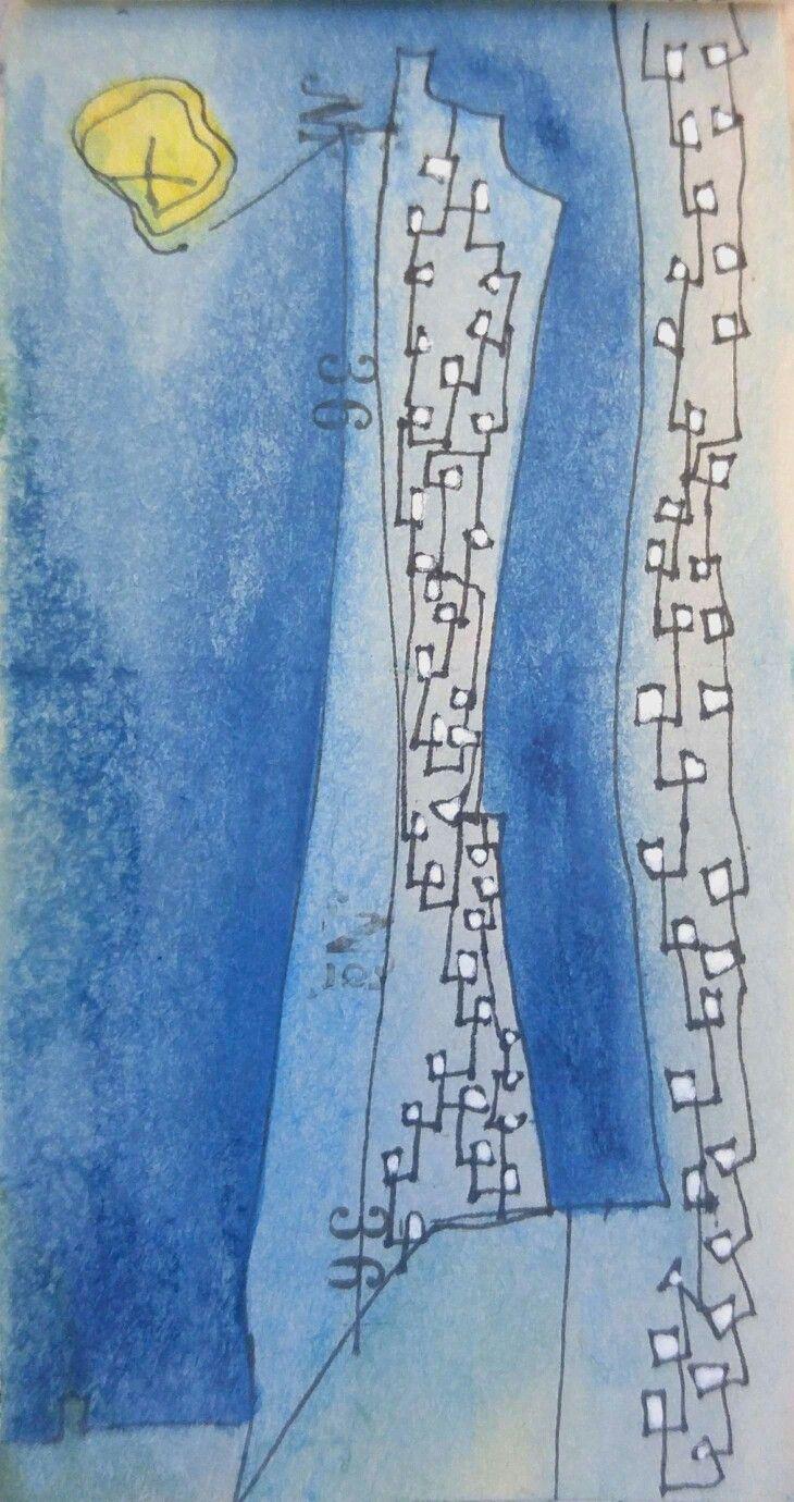 Lyonel Feininger .  blue skyscrapers 1937 . 26 05