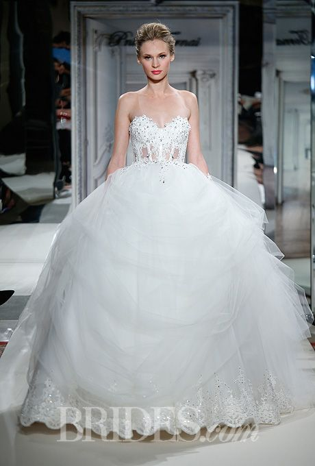 Brides.com: Pnina Tornai for Kleinfeld - 2014. Style 4263, strapless, sweetheart ball gown wedding dress with jeweled silk tulle illusion bodice and lace underskirt, Pnina Tornai for Kleinfeld