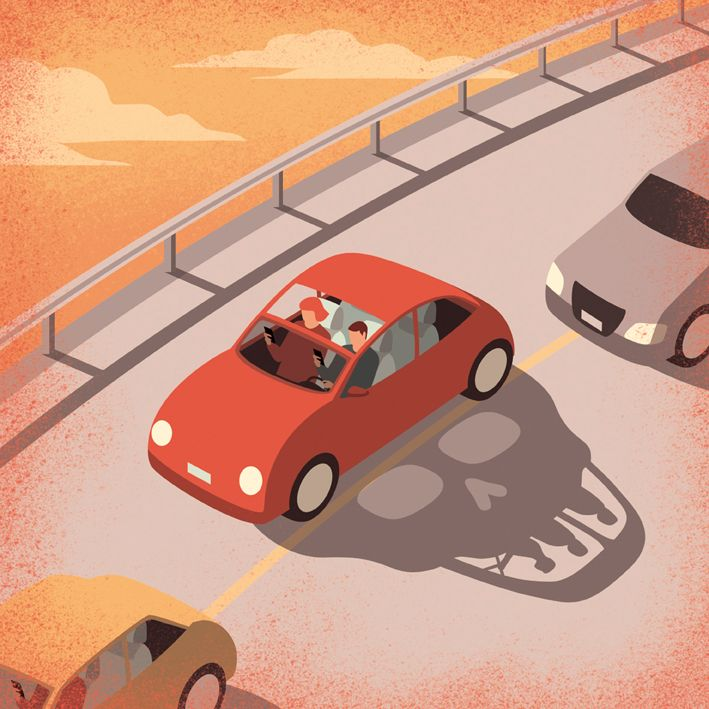 Davide Bonazzi - Dangerous driving. Client: WIred UK. AD Mary Lees. Conceptual, editorial illustration