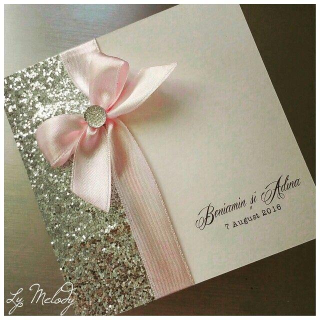 Wedding invitation #pink#glitter  Invitații de nunta #roz#sclipici  Ly Melody
