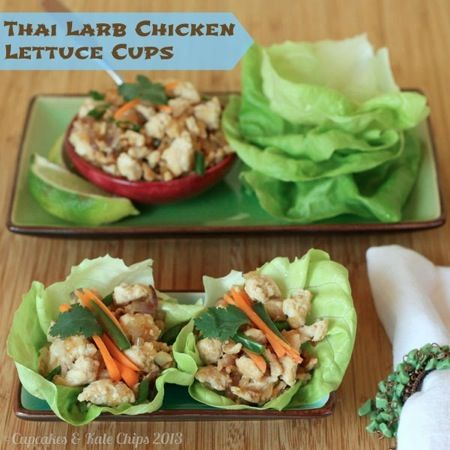 Thai Larb Chicken Lettuce Cups feature warm stir-fried chicken on top ...