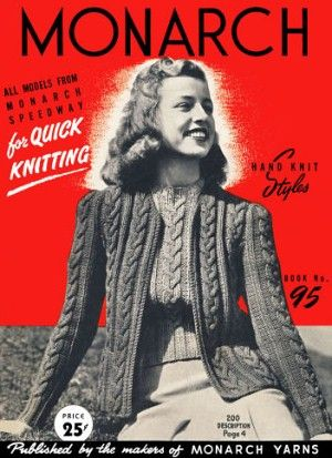 Hand Knit Styles for women; cardigan and pullover sweaters and tops with long or short sleeves, vest, box coat and jacket Vintage Knitting Patterns Book for download Sizes 14 & 16