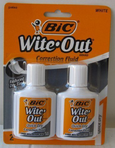 Bic Wite-Out Quick Dry Correction Fluid - 2 pack - white color writeout - white-out #Wite #Quick #Correction #Fluid #pack #white #color #writeout