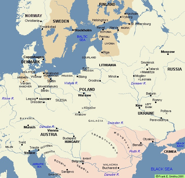 Best Great Northern War Images On Pinterest Military Uniforms - Sweden russia map