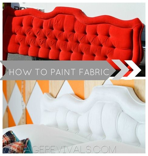 Step by Step Tutorial on How To Paint Upholstery Fabric @ Vintage Revivals