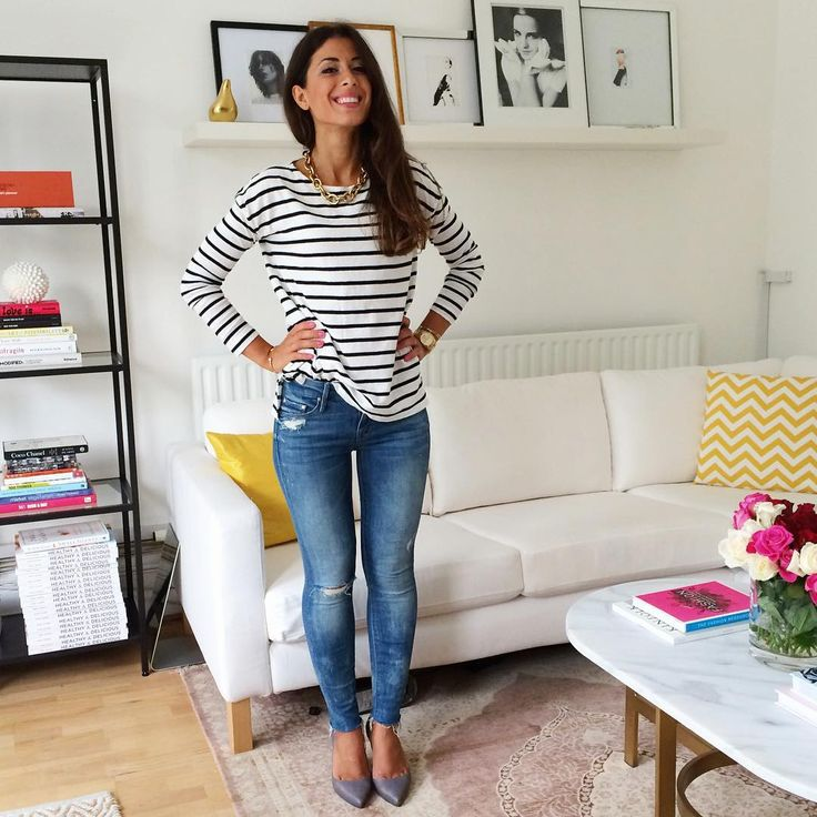 Mimi Ikonn | Striped top, ripped skinny jeans, Melissa shoes, Michael Kors watch, chain necklace | OOTD