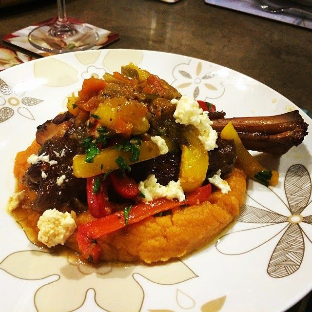 Daz in the Kitchen: Braised lamb shank with sweet peppers and feta on a bed of sweet potato mash ... in the Thermomix