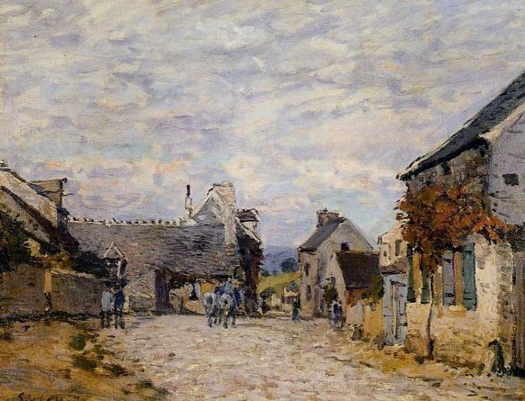 village street by alfred sisley oil painting - Oil Painting