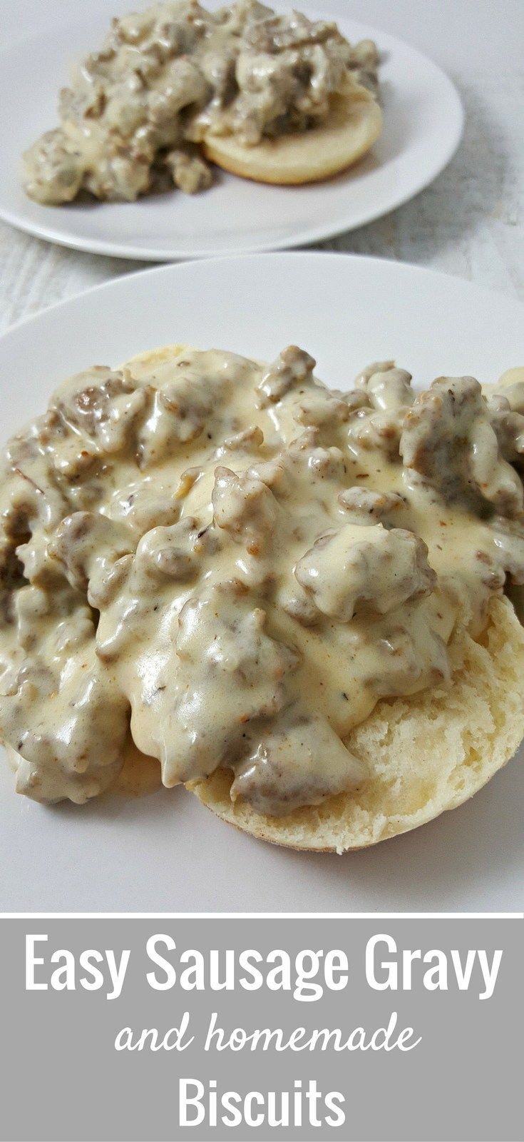 Easy Sausage Gravy and Homemade Biscuits Recipe for Two has southern-style sausage gravy and flaky homemade biscuits with a hint of honey. This dish great for breakfast or dinner and is ready in just 30 minutes. If you want more heat you can add a pinch of cayenne.
