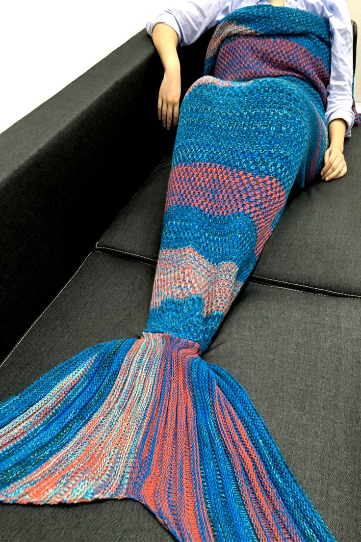 $20.48 High Quality Super Soft Crochet Knitted Mermaid Tail Sofa Blanket
