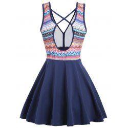 Cross Back Plus Size Skirted Swimsuit - 2xl