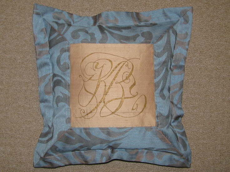 Monogrammed wedding pillow for Kelley and Brandy