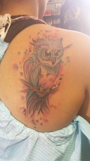 My owl water color tattoo. Sooo pretty.
