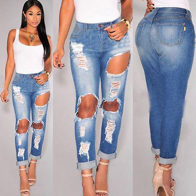 Womens Ladies Stretch Faded Ripped Slim Fit Skinny Denim Jeans
