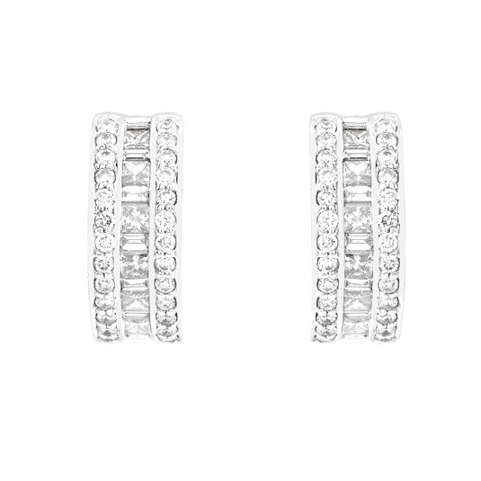 18 CARAT WHITE GOLD ROUND AND PRINCESS CUT DIAMOND EARRINGS