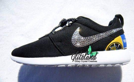 Swarovski Nike Girls / Women Black Roshe w/ NBA Golden State Warriors  Print Heel  Blinged with Authentic Swarovski Crystals