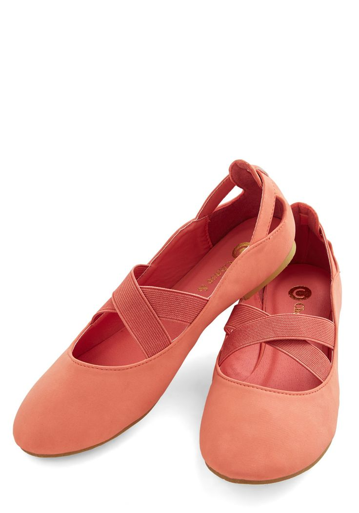 Fall Into Grace Flat. The grace that these coral flats infuse into your steps make them the perfect accessory! #coral #modcloth