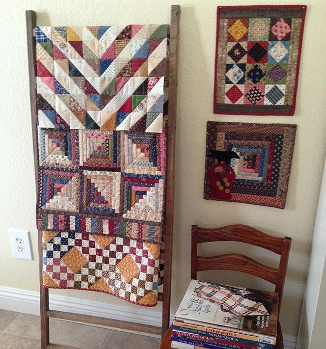 My new favorite little spot. Quilt on top rung needs quilting. It never ends, right? #ladderquilts #decoratingwithquilts